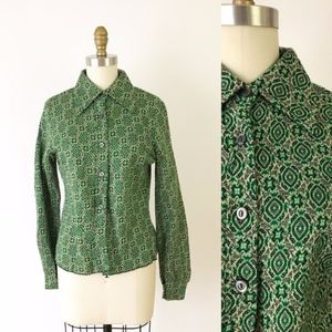70s Vintage Geometric Green Button Up Shirt M A16